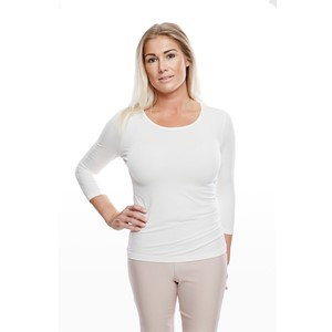 Ladies Soft 3/4 Sleeve Natural White S