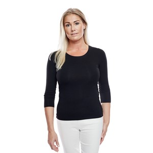 Ladies Soft 3/4 Sleeve Black S