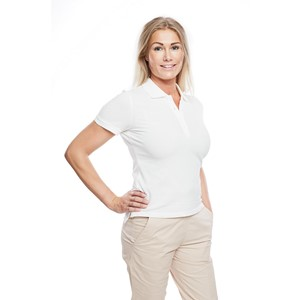 Ladies Polo Shirt Natural White M