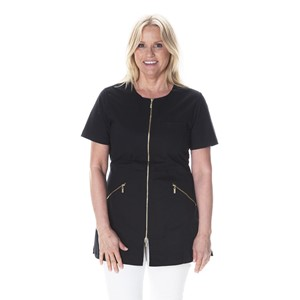Zip Top Short Sleeve Black L