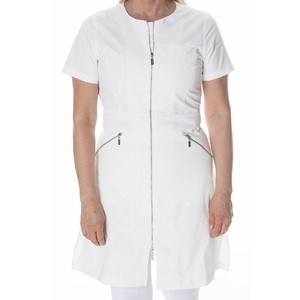 Zip Dress Short Sleeve Natural White M