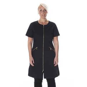 Zip Dress Short Sleeve Black L