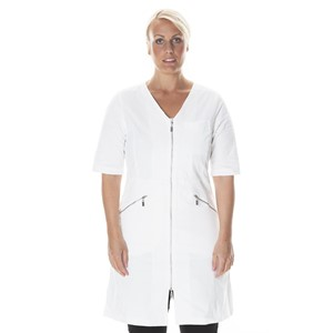 Zip Dress Half Sleeve Natural White M