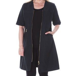 Zip Dress Half Sleeve Black M